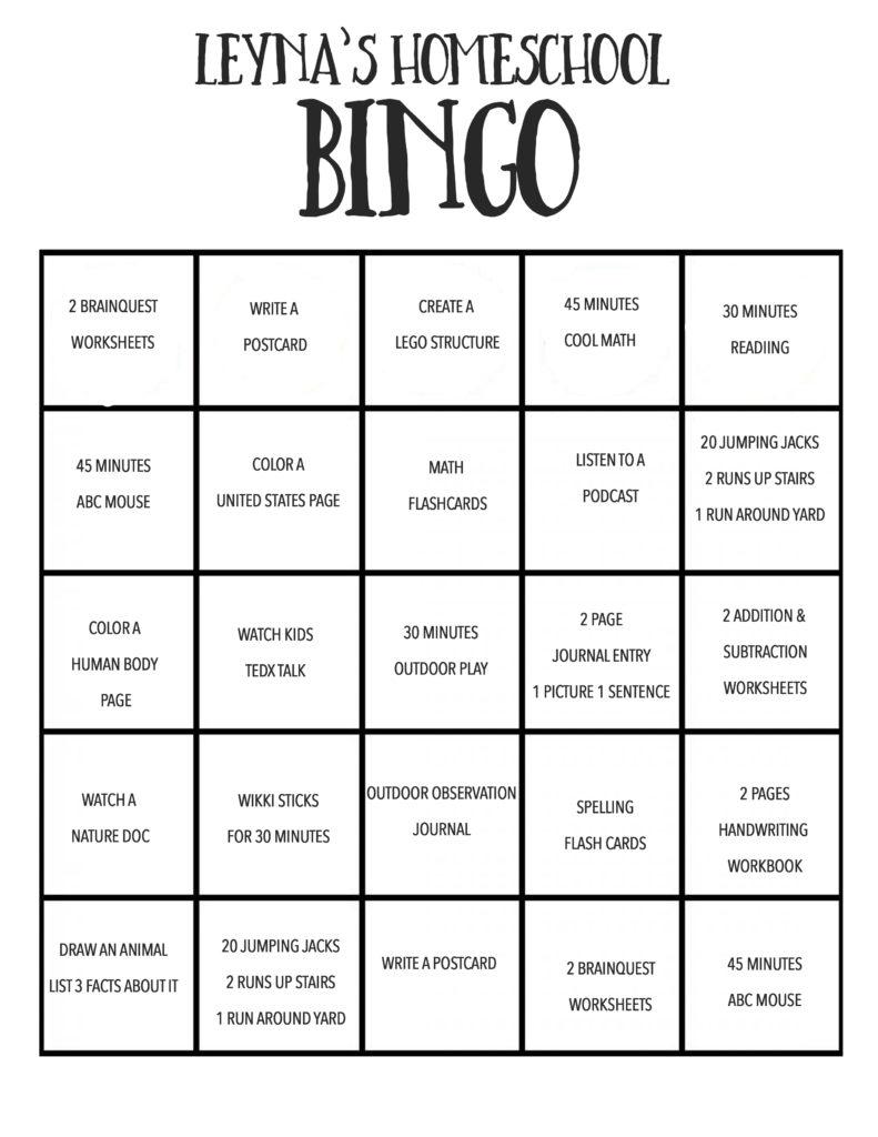 Homeschool Bingo Happy Loud Life